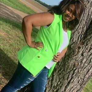 Jackets & Blazers - Neon Green Sleeves Blazer